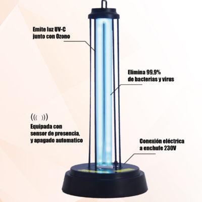 lámpara desinfeccion ozono y ultravioleta